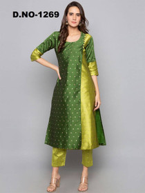 Double shade Green color Art Silk Fabric Top and Bottom