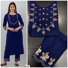 Blue color Rayon Fabric Top and Bottom