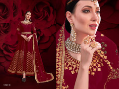Maroon color Pure Georgette Fabric Centre Cut Indowestern style Suit