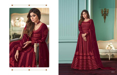 Maroon color Embroidery work Full Sleeves Floor Length Georgette Fabric Anarkali style Party wear Suit