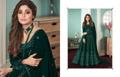 Dark Green color Embroidery work Full Sleeves Floor Length Georgette Fabric Anarkali style Party wear Suit