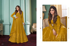 Mustard color Embroidery work Full Sleeves Floor Length Georgette Fabric Anarkali style Party wear Suit