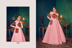 Pink color Full Sleeves Floor Length Georgette Fabric Gown