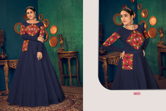 Royal Blue color Full Sleeves Floor Length Georgette Fabric Gown