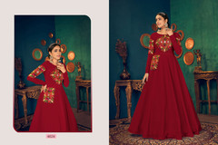 Red color Full Sleeves Floor Length Georgette Fabric Gown
