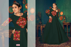 Bottle Green color Full Sleeves Floor Length Georgette Fabric Gown