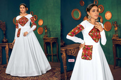 White color Full Sleeves Floor Length Georgette Fabric Gown