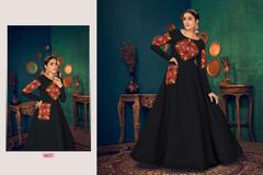 Black color Full Sleeves Floor Length Georgette Fabric Gown