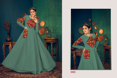 Blue color Full Sleeves Floor Length Georgette Fabric Gown