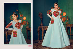 Light Sky Blue color Full Sleeves Floor Length Georgette Fabric Gown