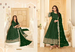 Green color Pure Georgette Fabric Anarkali style Suit