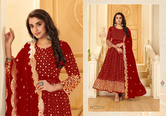 Red color Pure Georgette Fabric Anarkali style Suit