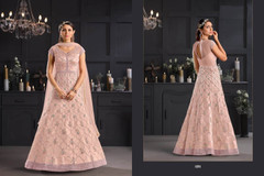 Light Baby Pink color Floor Length Butterfly Net Fabric Anarkali style Suit
