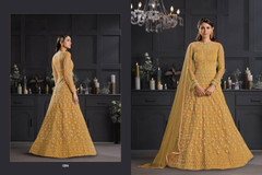 Brown color Floor Length Butterfly Net Fabric Anarkali style Suit