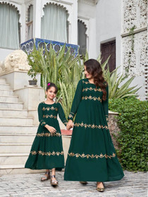 Dark Green Heavy Blooming Georgette Fabric Ankle Length Gown