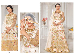 Off White color Net Fabric Floor Length Embroidered Anarkali style Suit
