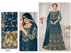 Blue color Net Fabric Floor Length Embroidered Anarkali style Suit