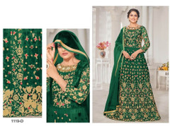 Green color Net Fabric Floor Length Embroidered Anarkali style Suit