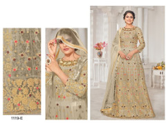Grey color Net Fabric Floor Length Embroidered Anarkali style Suit