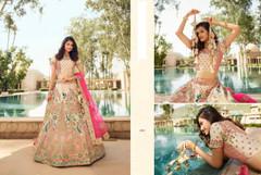 Cream color Silk Fabric Heavily Work Lehenga Choli