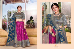 Magenta and Royal Blue color Silk Fabric Lehenga Choli