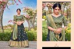 Navy Blue and Light Green color Silk Fabric Lehenga Choli