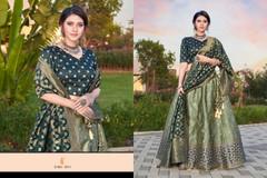 Light Green and Turquoise Blue color Silk Fabric Lehenga Choli