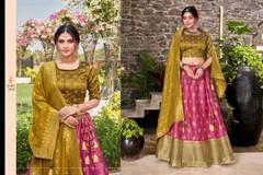 Pink and Golden color Silk Fabric Lehenga Choli