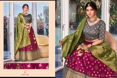 Magenta and Grey color Silk Fabric Lehenga Choli