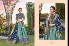 Double shade Blue color Silk Fabric Lehenga Choli