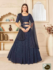 Navy Blue color Georgette Fabric Embroidered Lehenga Choli