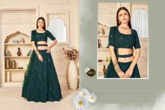Green color Georgette Fabric Embroidered Lehenga Choli