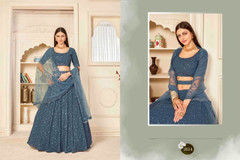 Soft Blue color Georgette Fabric Embroidered Lehenga Choli