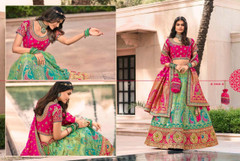 Blue and Magenta color Banarasi Silk Fabric Lehenga Choli
