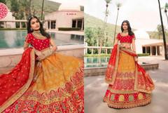 Yellow and Magenta color Banarasi Silk Fabric Lehenga Choli