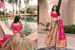 Greyish Blue Magenta color Banarasi Silk Fabric Lehenga Choli