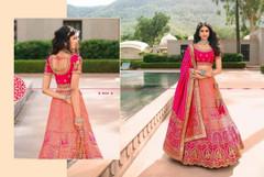 Peach and Magenta color Banarasi Silk Fabric Lehenga Choli