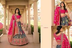 Royal Blue and Magenta color Banarasi Silk Fabric Lehenga Choli