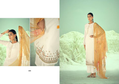 White color Pure Muslin Fabric Suit