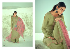 Green color Pure Muslin Fabric Suit