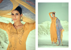 Yellow color Pure Muslin Fabric Suit