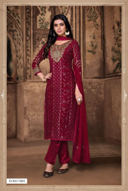 Maroon color Heavy Georgette Fabric Suit