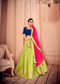 Olive Green color Silk Fabric Lehenga Choli