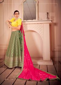 Green color Silk Fabric Lehenga Choli