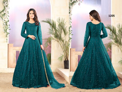 Blue color Net Fabric Full Sleeves Floor Length Anarkali style Suit