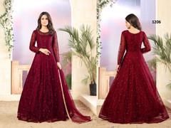 Maroon color Net Fabric Full Sleeves Floor Length Anarkali style Suit