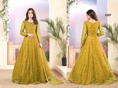 Yellow color Net Fabric Full Sleeves Floor Length Anarkali style Suit