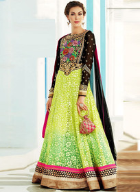 Black Green net brasso Anarkali suit
