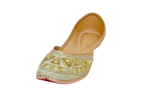 Pista Green color Handmade Pure Leather Punjabi Jutti