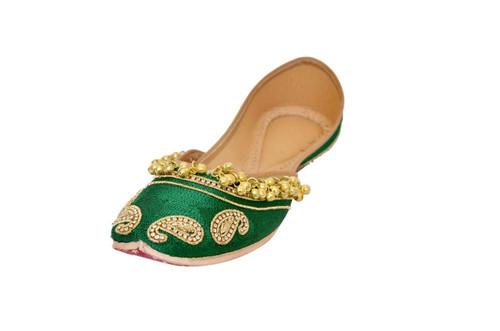Leave Green color Handmade Pure Leather Punjabi Jutti
